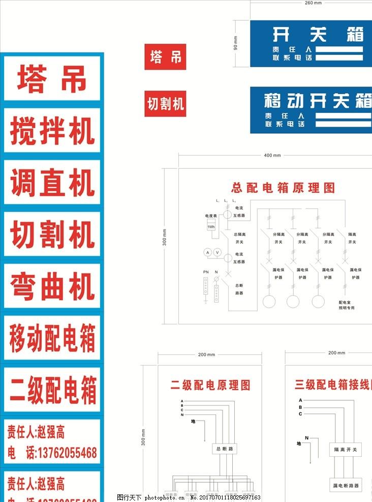 配电标识牌 配电标识 标牌 配电箱原理 线路图 责任牌 开关箱 平面