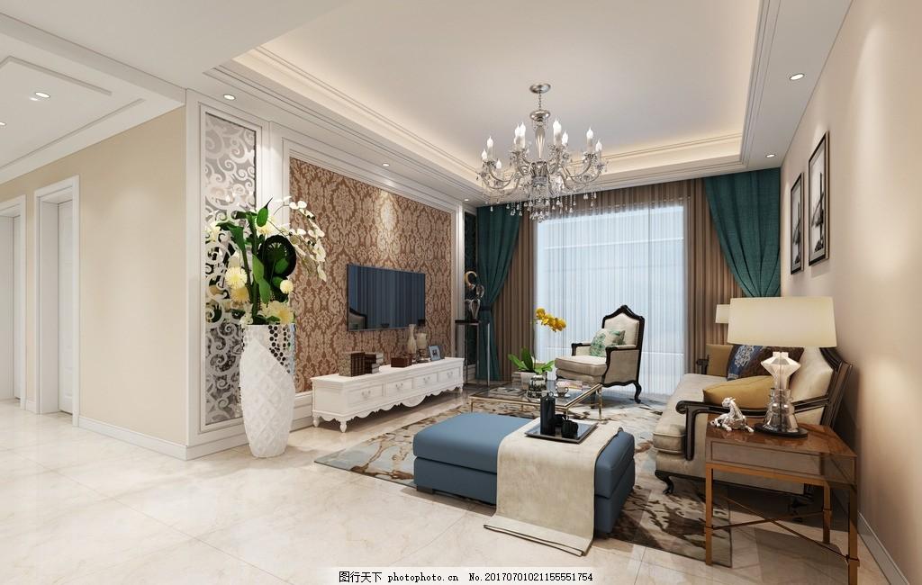 客厅装修效果 欧式效果图 家庭 室内