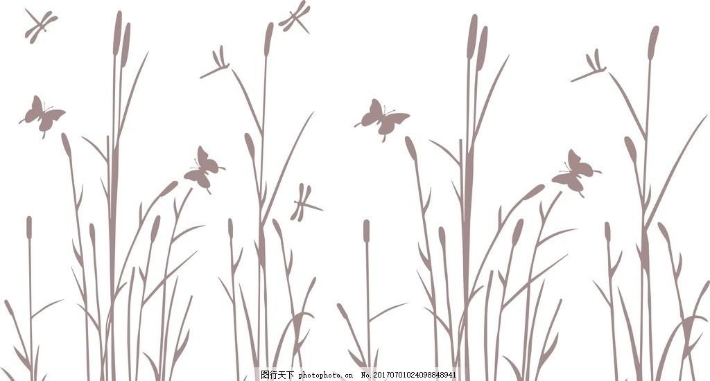 蝴蝶蜻蜓芦苇 蜻蜓 芦苇 花 蝴蝶 自然 矢量图 设计 自然景观 自然