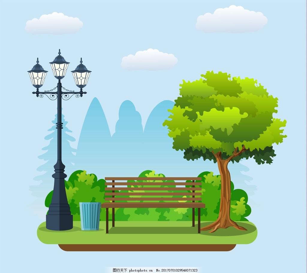公园 花园 座椅 绿色出行 健康生活方式 清新空气 氧气 绿色健康 环保
