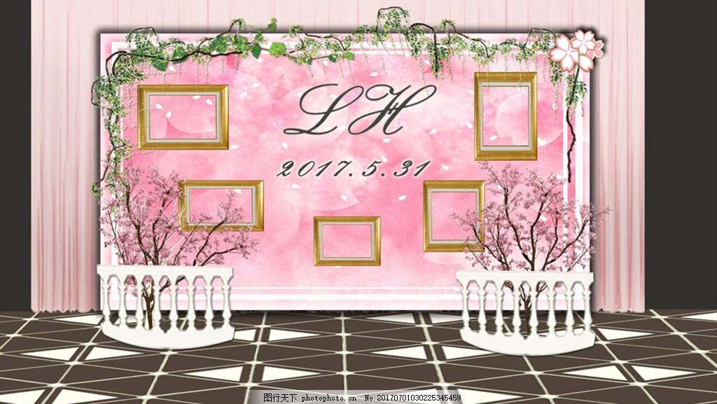 粉色欧式迎宾区 欧式 藤条 花艺 灯布 粉色 照片墙 婚礼效果图 设计