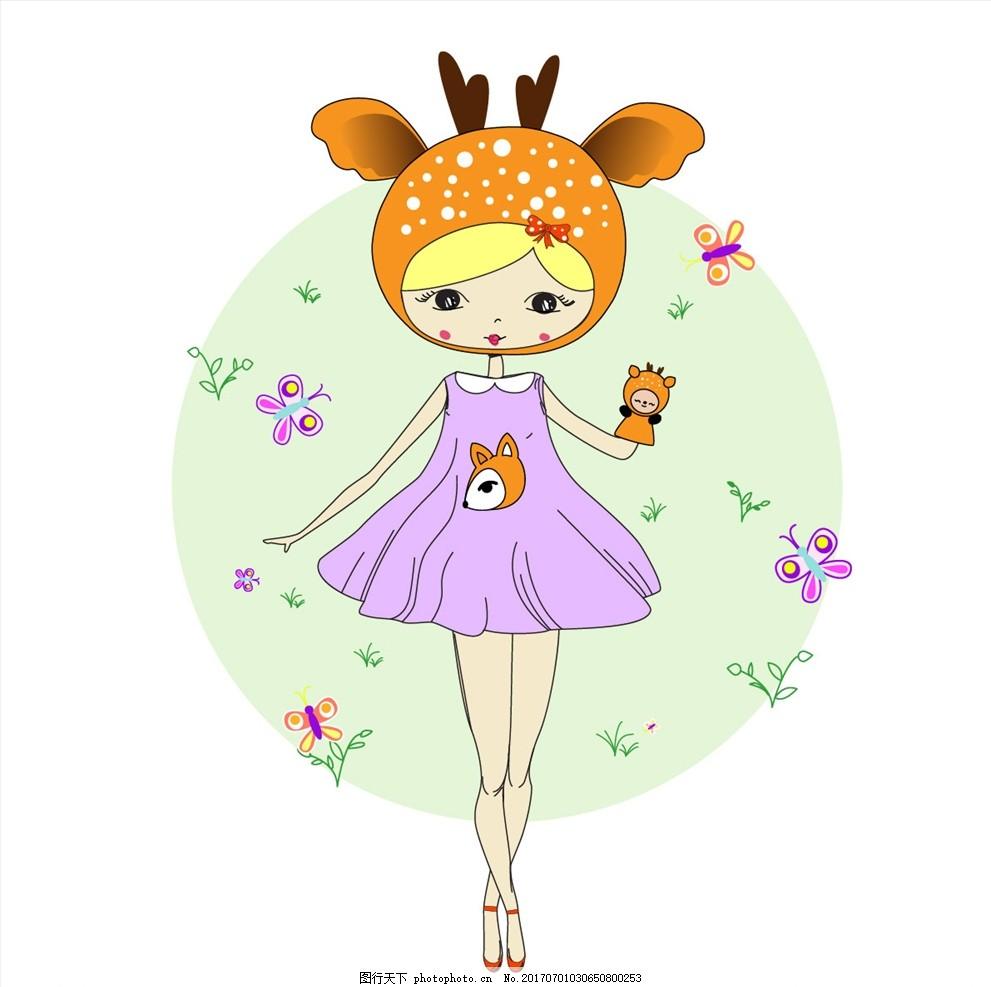 鹿头面具卡通小女孩矢量图下载