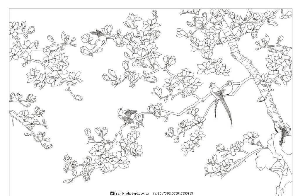 装饰画 屏风 玄关 隔断 电视背景墙 背景墙 白描 线描 树 玉兰 花卉