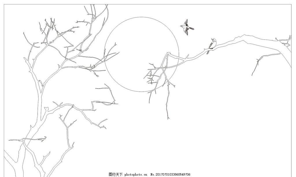 装饰画 屏风 玄关 隔断 电视背景墙 背景墙 白描 线描 中国风 树 树枝