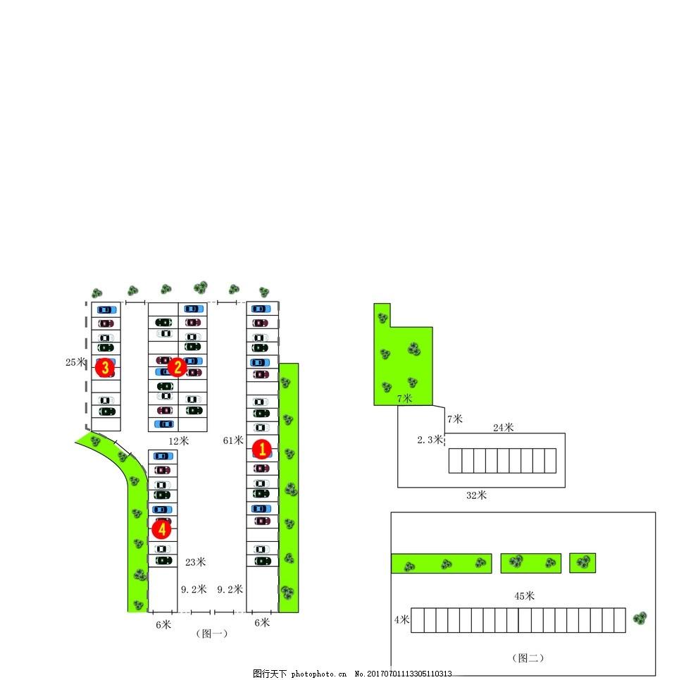 商用素材 人物  停车场平面图 ai 平面图设计 规划图 停车场 汽车