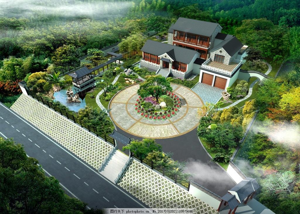 新中式别墅设计 效果图 建筑设计 庭院设计 景观设计