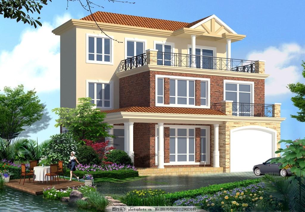 别墅建筑设计 别墅 建筑设计 庭院设计 私人别墅 美式 设计 3d设计
