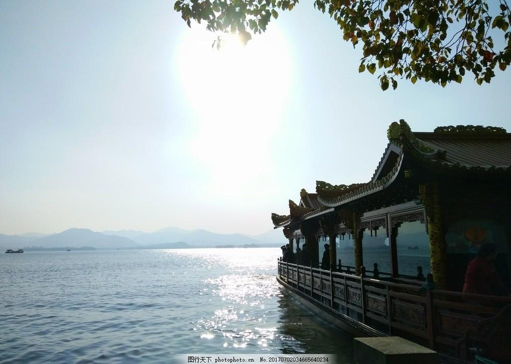 西湖 杭州 西湖美景 天空 船 唯美景色 风景 波光 水纹 山水