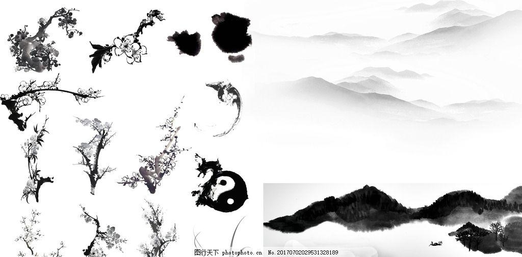 水墨古风素材 梅花 桃花 水墨古风背景 中国画 古风 水墨画 山水画