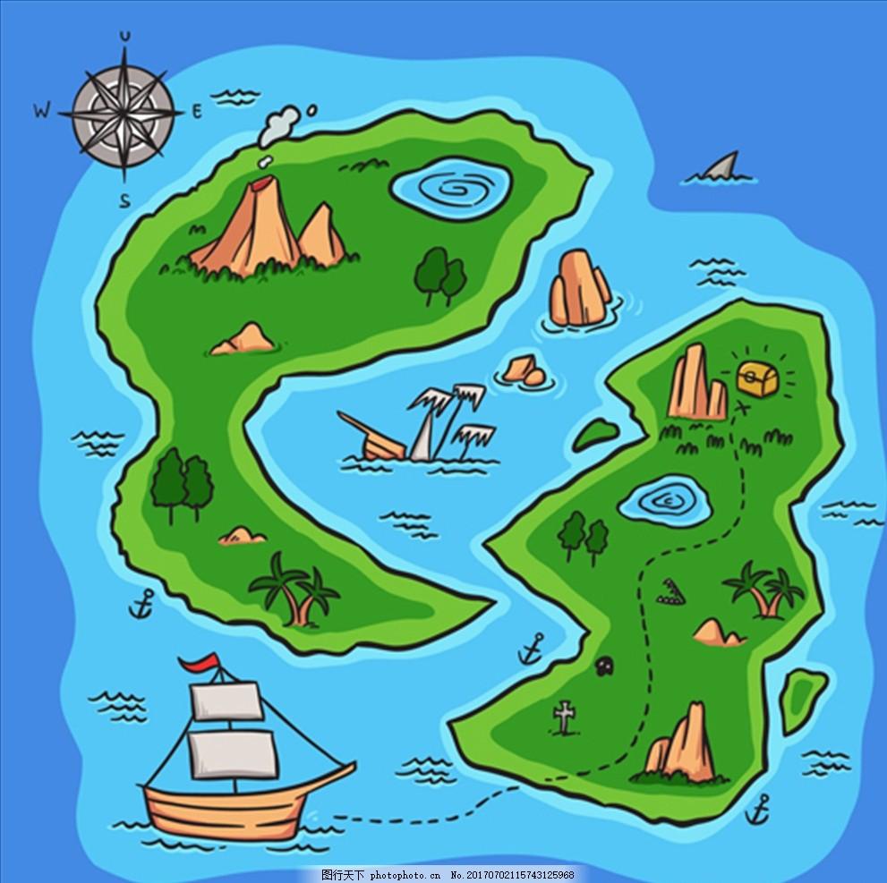 手绘海盗金银岛背景