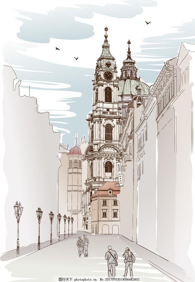 手绘建筑插画,水彩建筑 装饰画 素描建筑 建筑背景-图