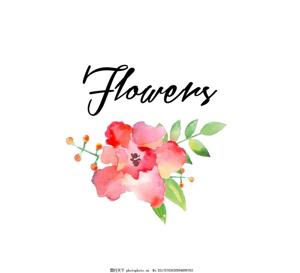 水彩花朵 彩绘 矢量图 清新 可爱 贺卡 卡片 礼物 书签 标签