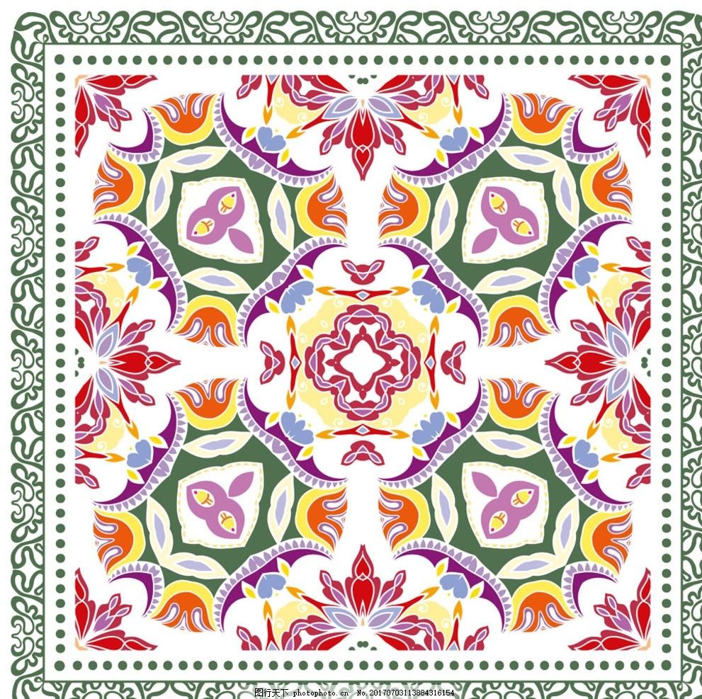 丝巾底纹图案 纹样 围巾 边框 复古花型 欧式花纹 锦缎花型 花边花纹
