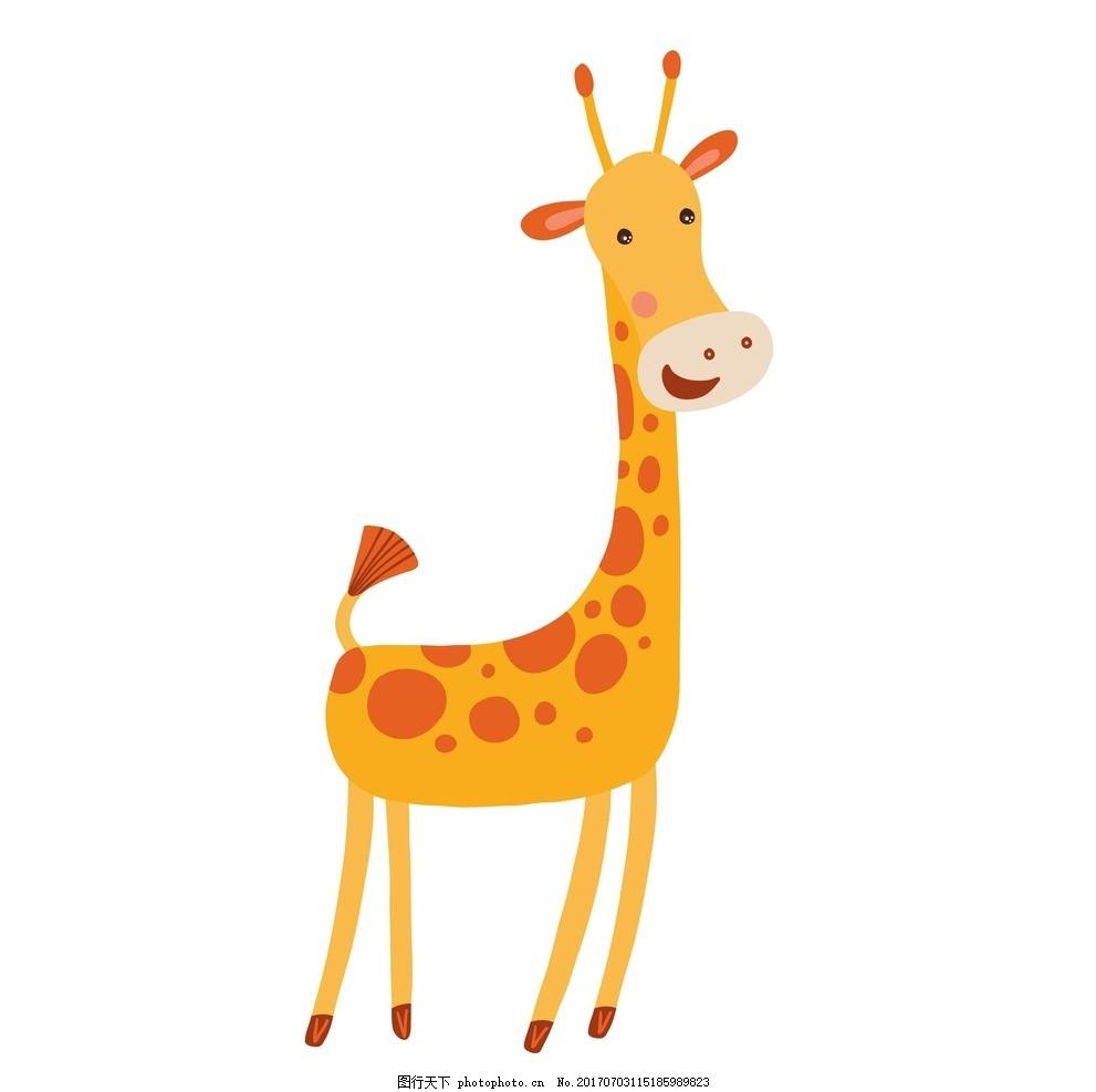 卡通动物 卡通长劲鹿 动漫卡通 可爱 贺卡 动物插画 插画 儿童绘本