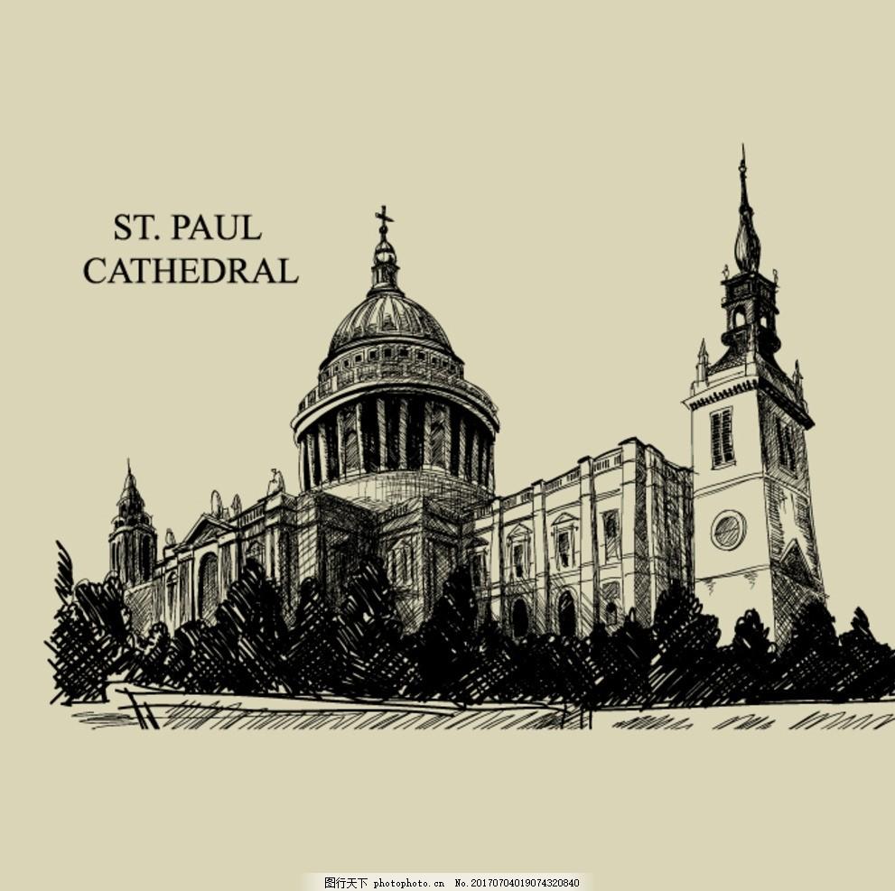 手绘建筑 手绘稿 黑白手绘 伦敦塔 大本钟 伦敦建筑 教堂 空间设计
