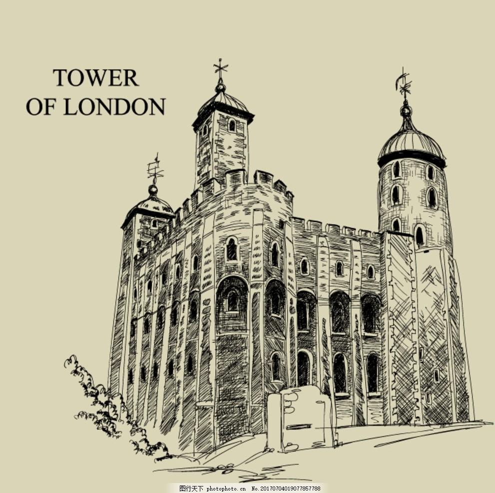 复古手绘建筑 伦敦塔 手绘 黑白 线稿 建筑 手绘建筑 手绘稿 黑白手绘