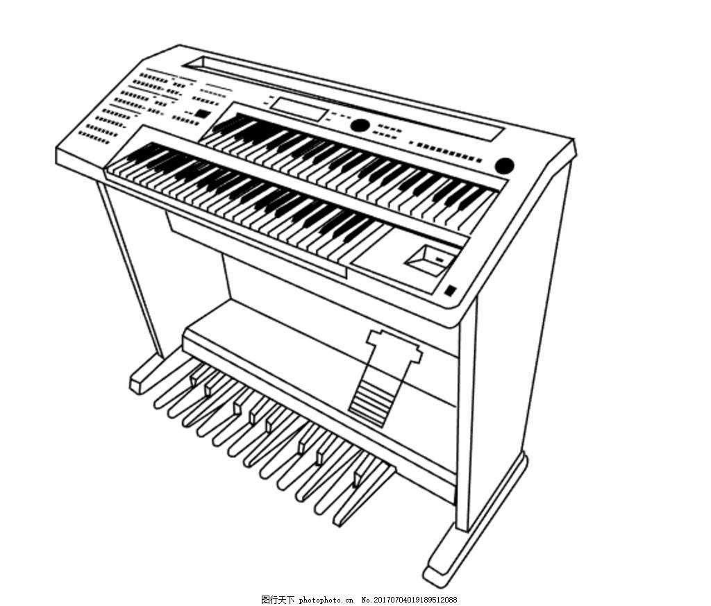 双排键电子琴 钢琴矢量图图片