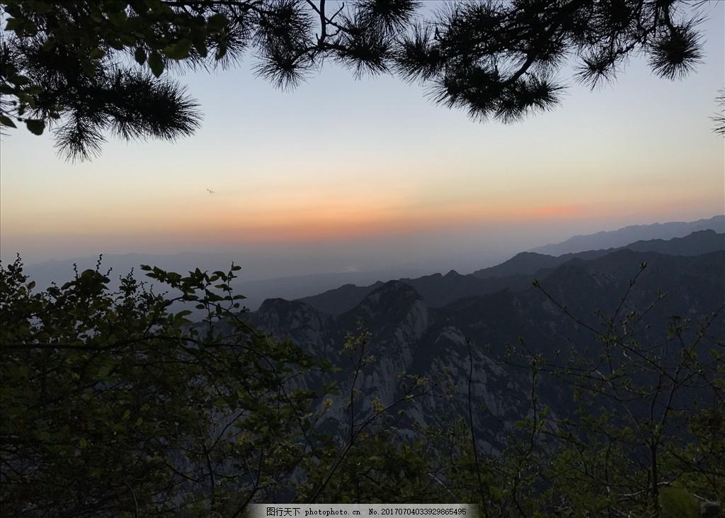 自然风景 日出 青山 松树 华山 蓝天 西安 旅游 景区 绿草 绿植 摄影