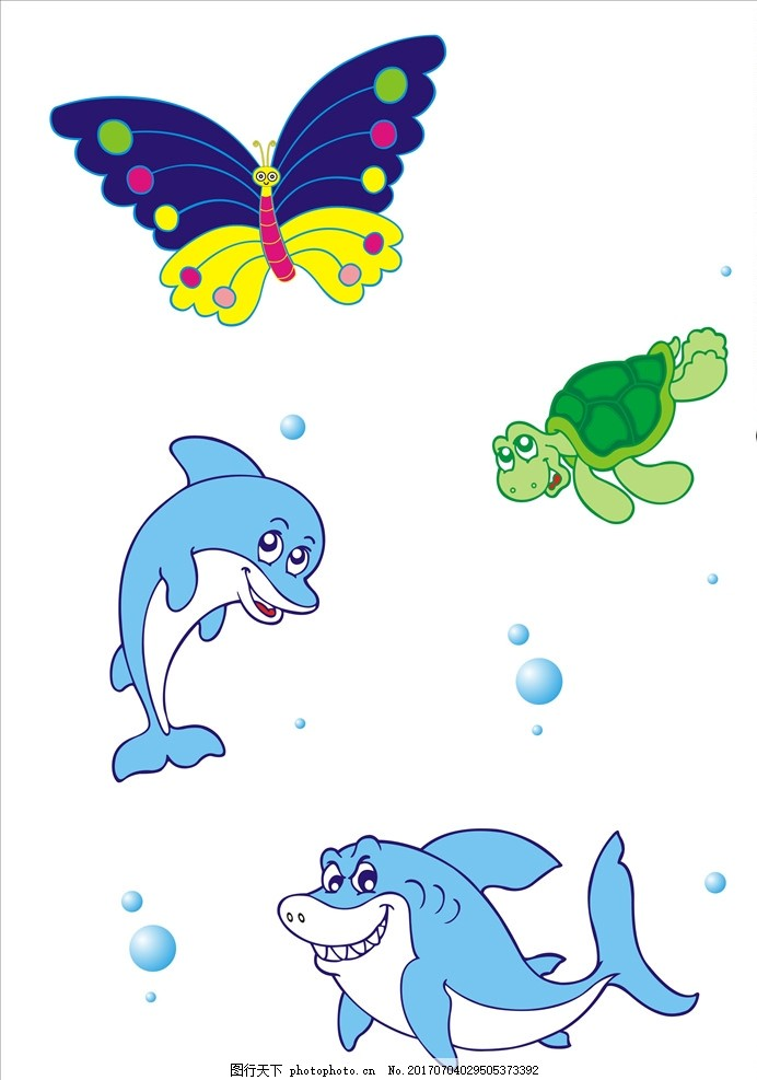 鲨鱼 海豚 蝴蝶 乌龟 卡通画 矢量图 设计 广告设计 广告设计 cdr