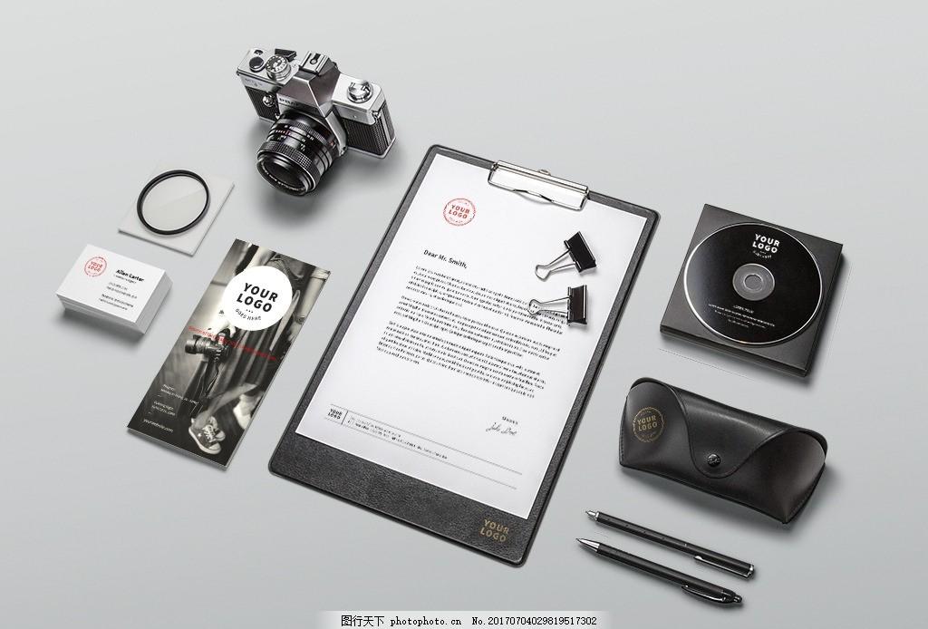 摄影公司素材vi样机 摄影vi素材 摄影办公素材 相机 光盘 文件夹 名片