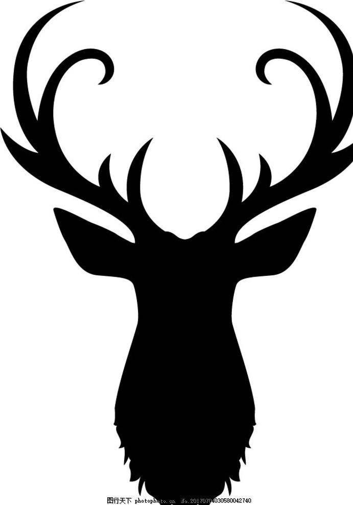 麋鹿剪影 卡通动物 动漫卡通 可爱 贺卡 动物插画 儿童绘本 儿童画画