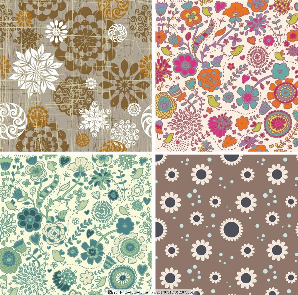 复古花纹矢量背景 家纺四件套 欧式花纹 四方连续 定位印花 面料图案