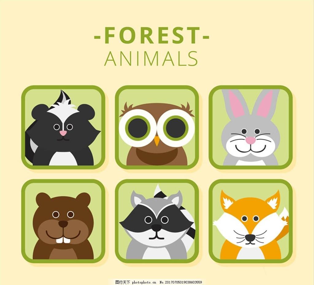 6款呆萌森林动物头像矢量素材 臭鼬 猫头鹰 兔子 熊 浣熊 狐狸 森林