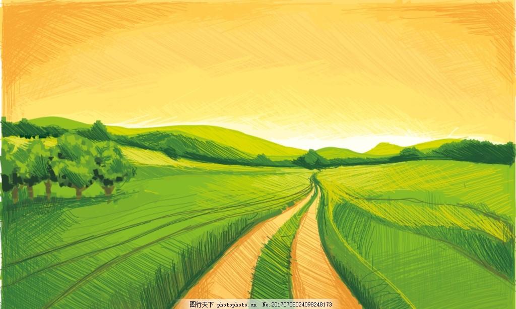 绿色黄昏手绘田园风矢量图