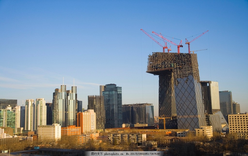 央视大楼 建筑 街景 地标建筑 施工过程 幕墙 玻璃钢架 摄影 设计
