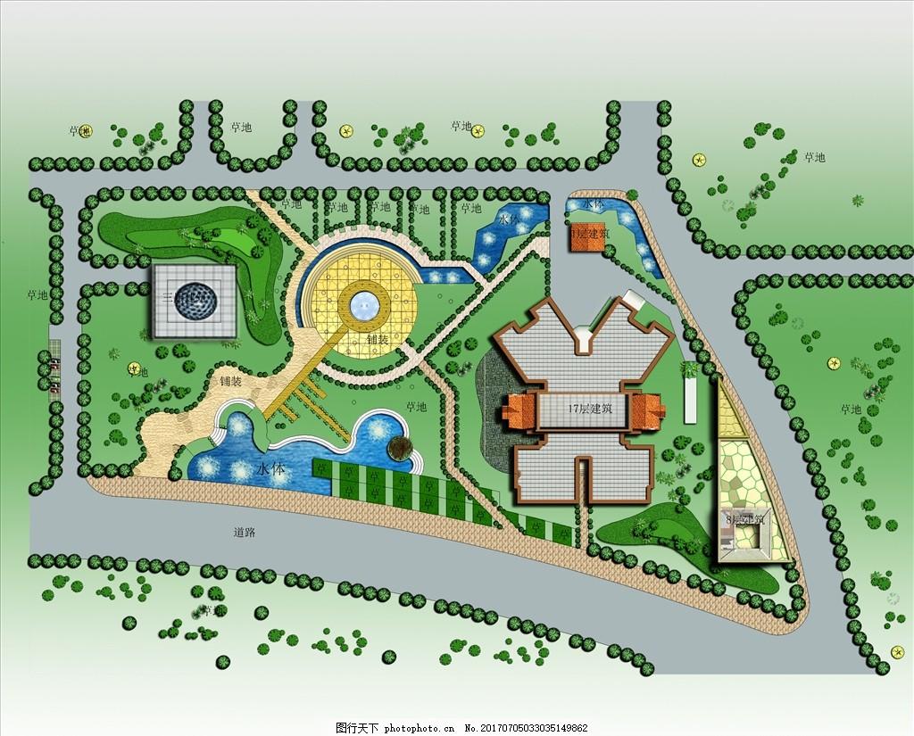 ps公园平面图 公园 平面图 ps素材 小广场 绿化 设计 psd分层素材 psd