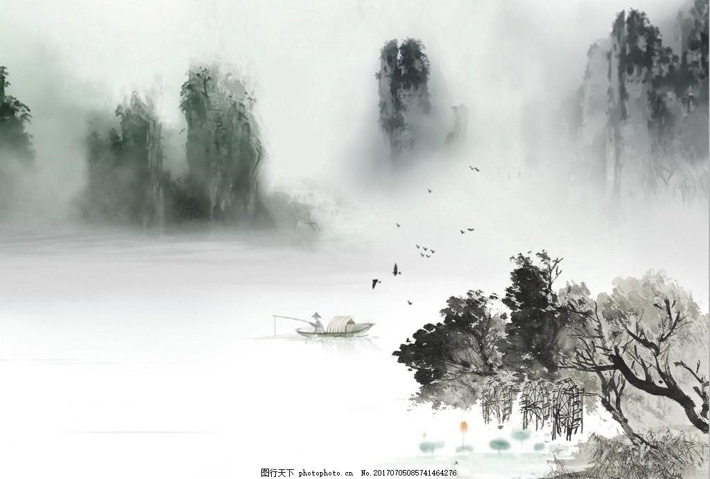 中式山水迷雾舟行游装饰图 垂柳 环境设计 无框画