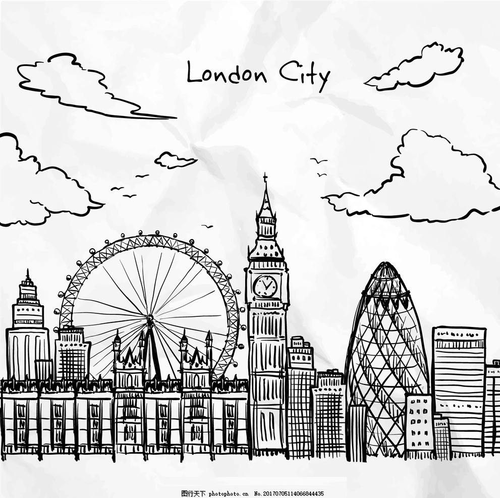 手绘伦敦城市