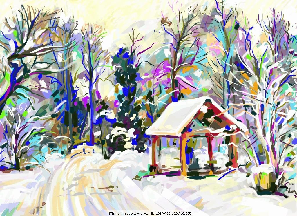 冬天里的雪景插画 风景 冬天 大树 雪景 下雪 艺术 水彩 亭子 插画