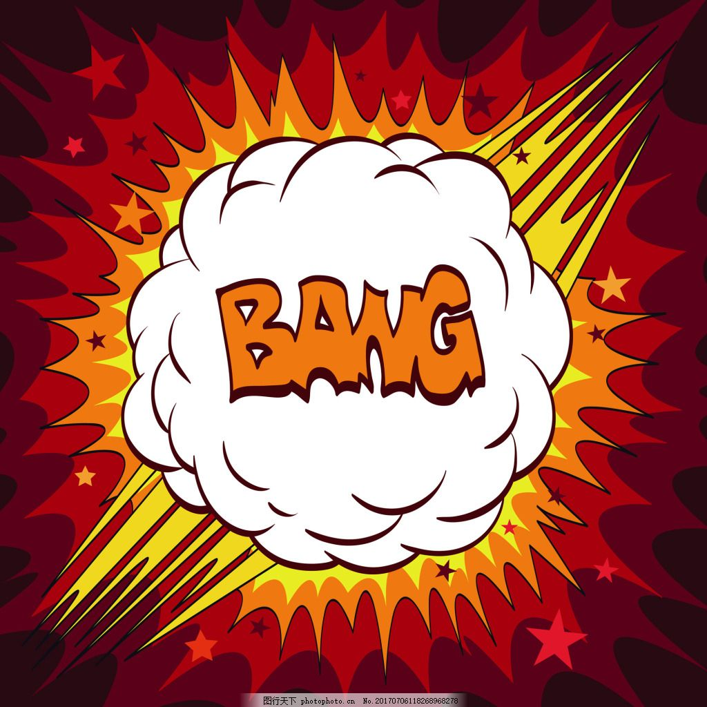 漫画手绘爆炸矢量装饰素材 爆炸 气泡 卡通 漫画气泡 气体 爆炸框 云