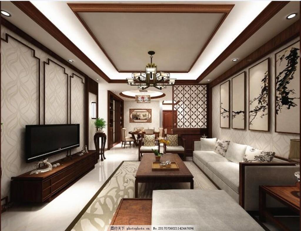 3d 家装效果图        中式 装修 装饰 客餐厅 温馨 古典 设计 3d设计
