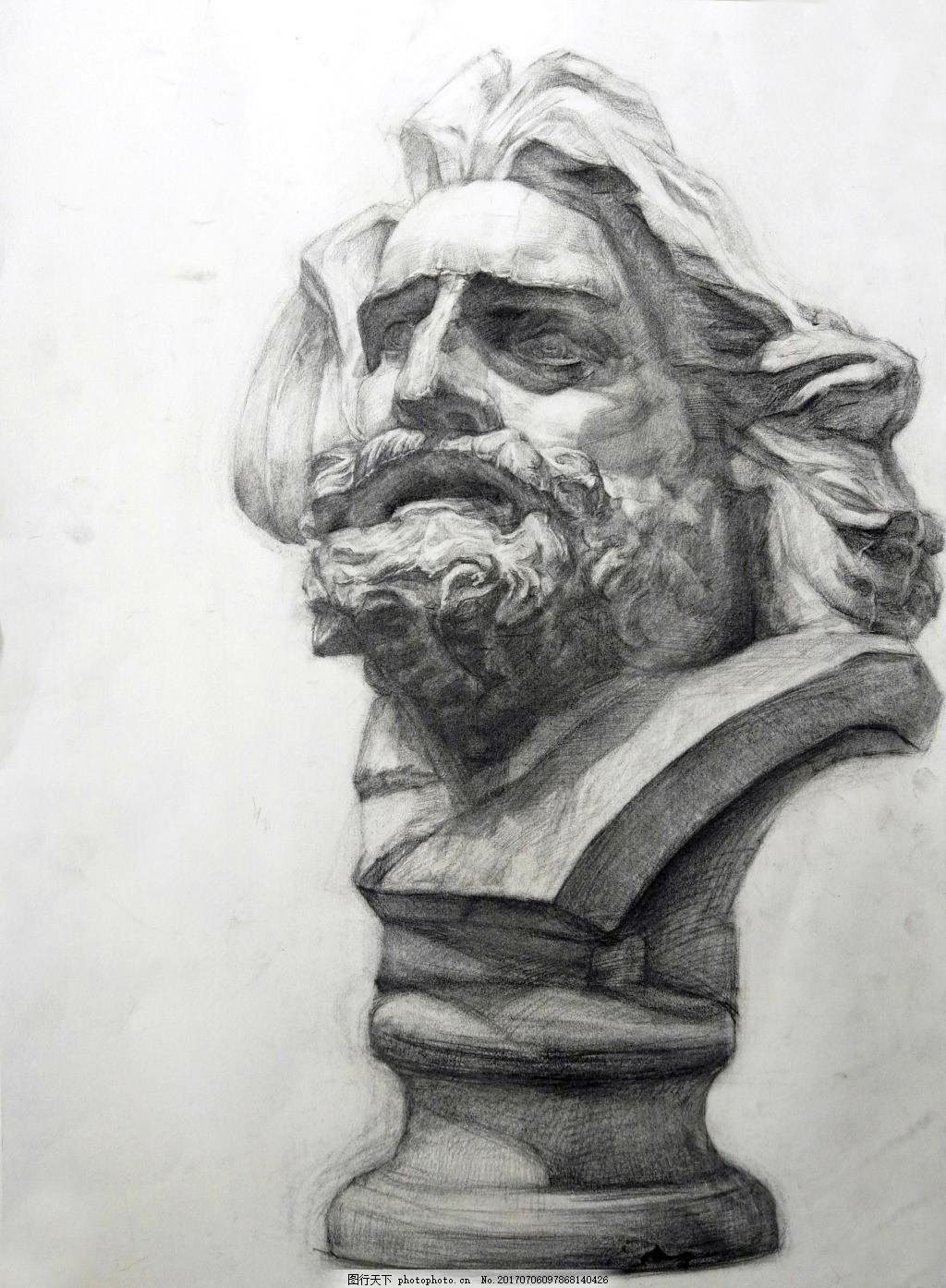 马赛头像装饰画 素描 石膏像 美术 黑白灰 结构 转折