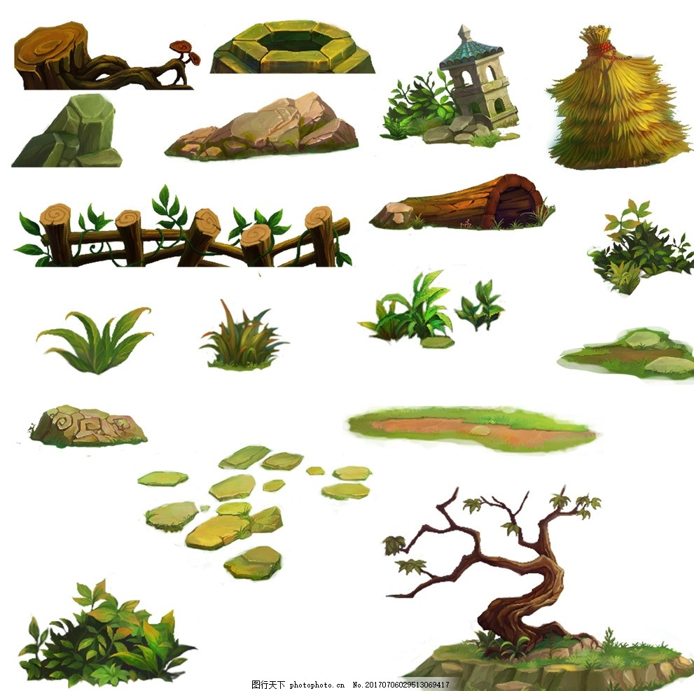 手绘灌木 手绘 园林 景观设计 绿化 树木 立面效果图 素材 乔木 草花