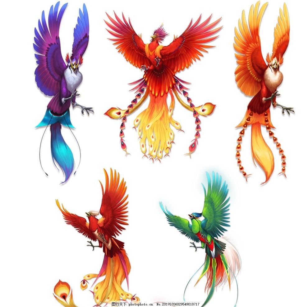 凤凰 鸟 花 凤凰素材 凤凰图案 金凤凰 彩色凤凰 花朵 老鹰 孔雀 设计