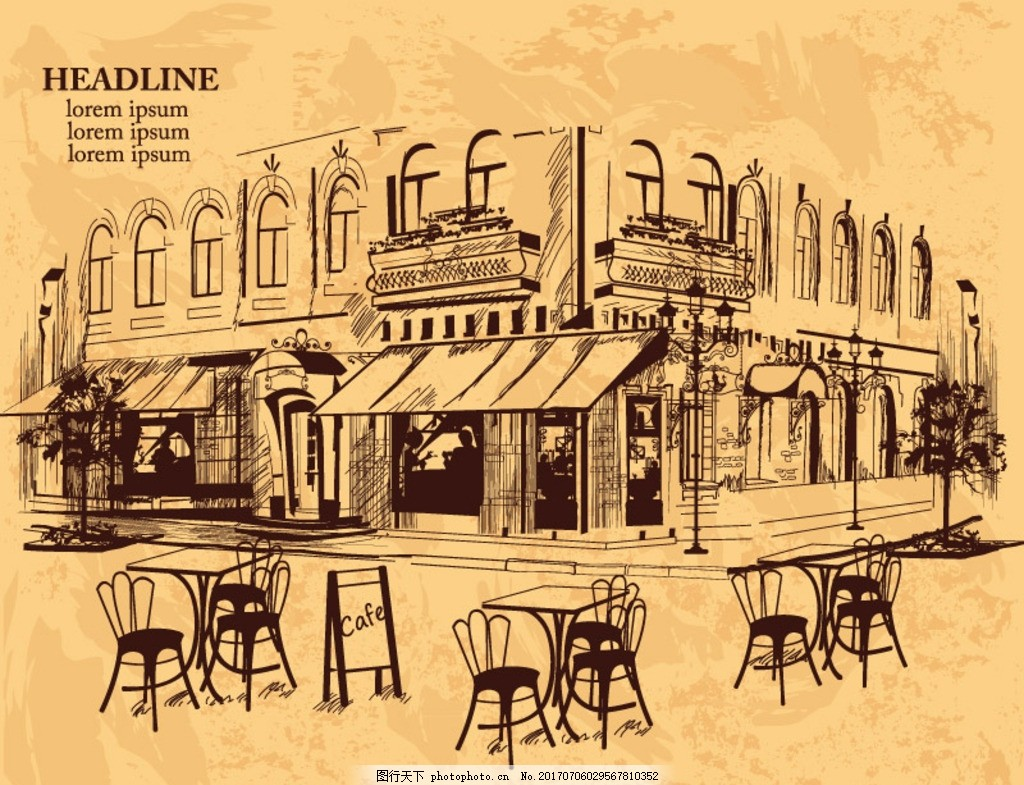 手绘室外咖啡馆 建筑 楼房 商铺 店铺 街道 餐桌 餐椅 招牌