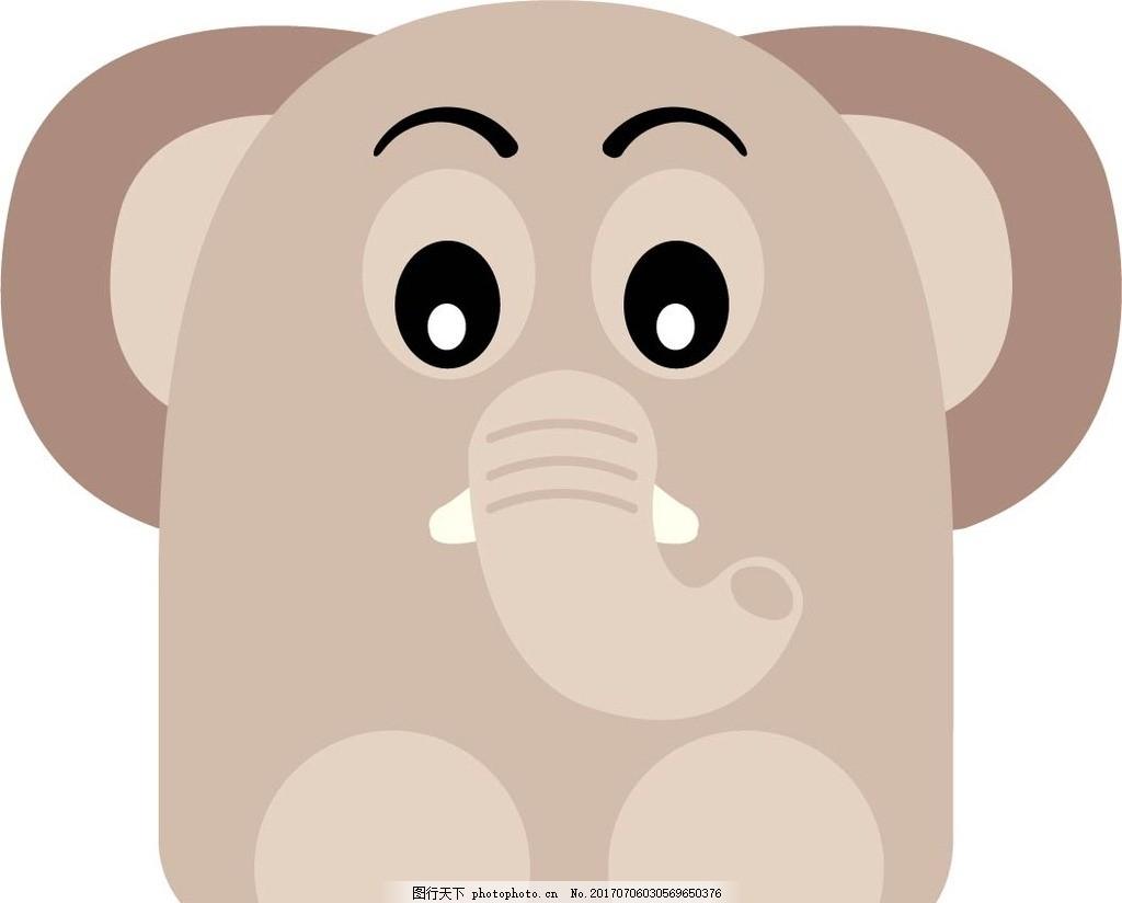 可爱q版大象的图画