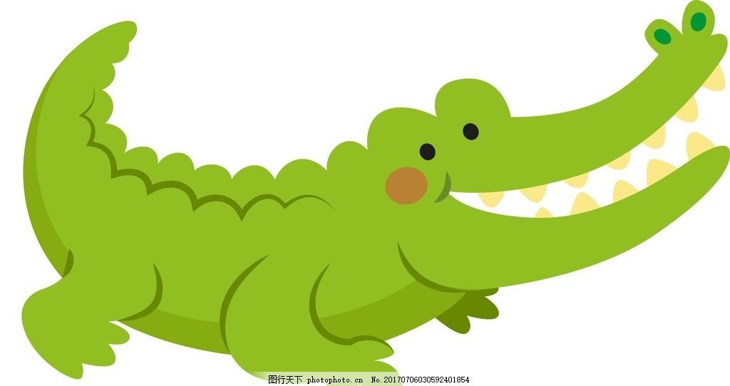 卡通鳄鱼 卡通动物 动漫卡通 可爱 贺卡 动物插画 儿童绘本 儿童画画