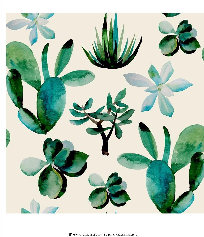 叶子底纹 仙人掌 仙人球 多肉植物 盆栽 多肉盆栽 植物花朵花卉 手绘