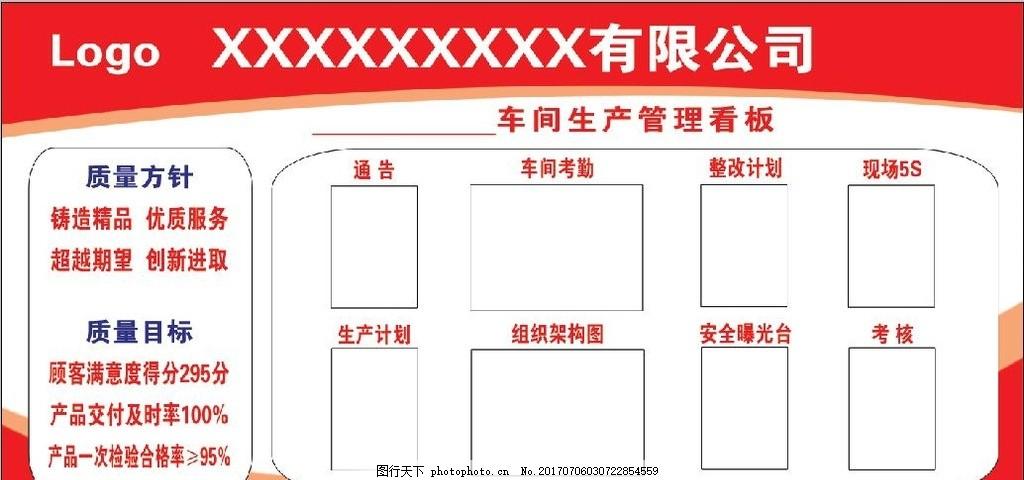 公司xx车间生产管理看板 质量 方针 目标 组织构架图 室内广告设计