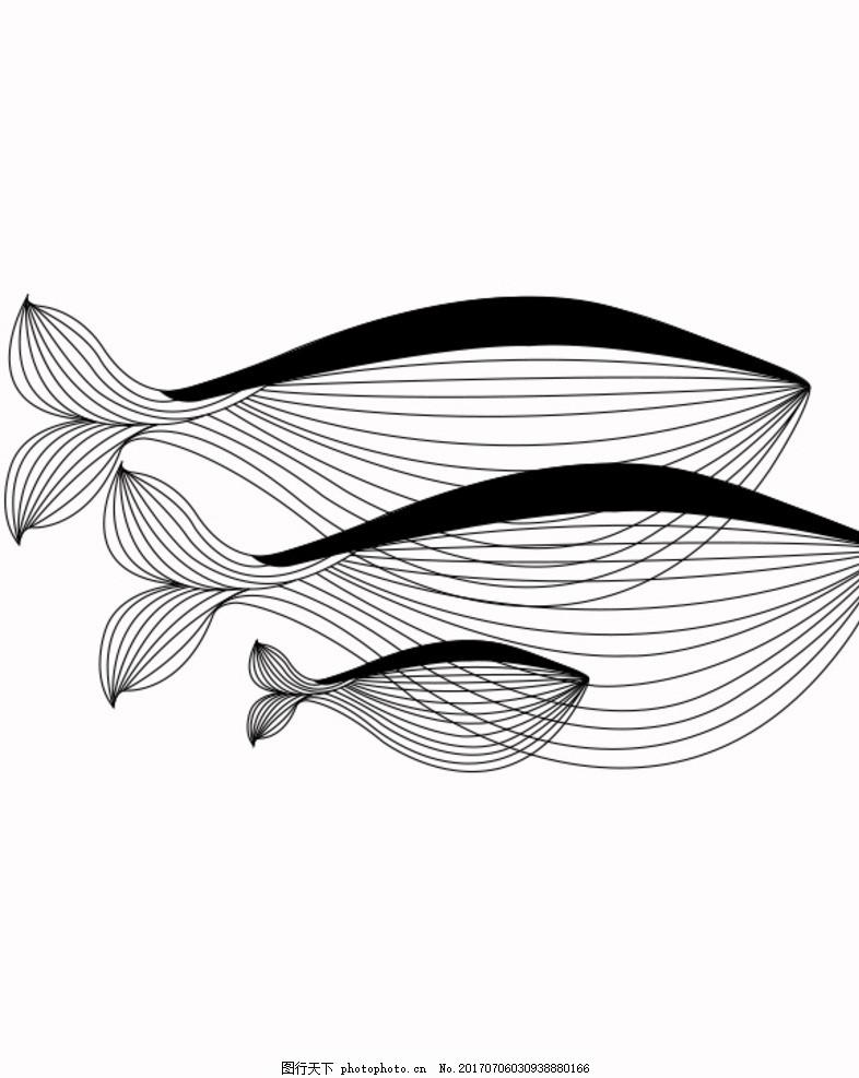 鲸鱼 线描画 插画 国内广告设计