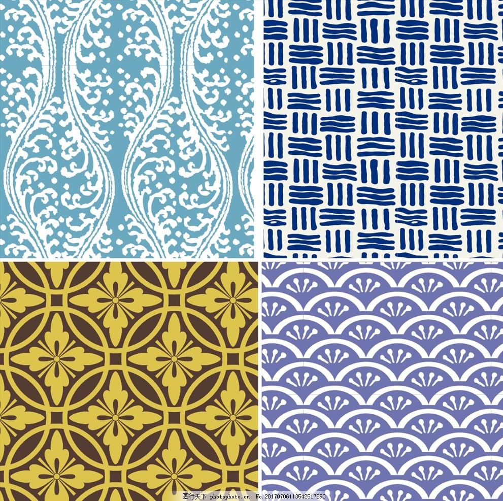 家纺四件套 欧式花纹 四方连续 定位印花 面料图案设计 壁纸 墙纸