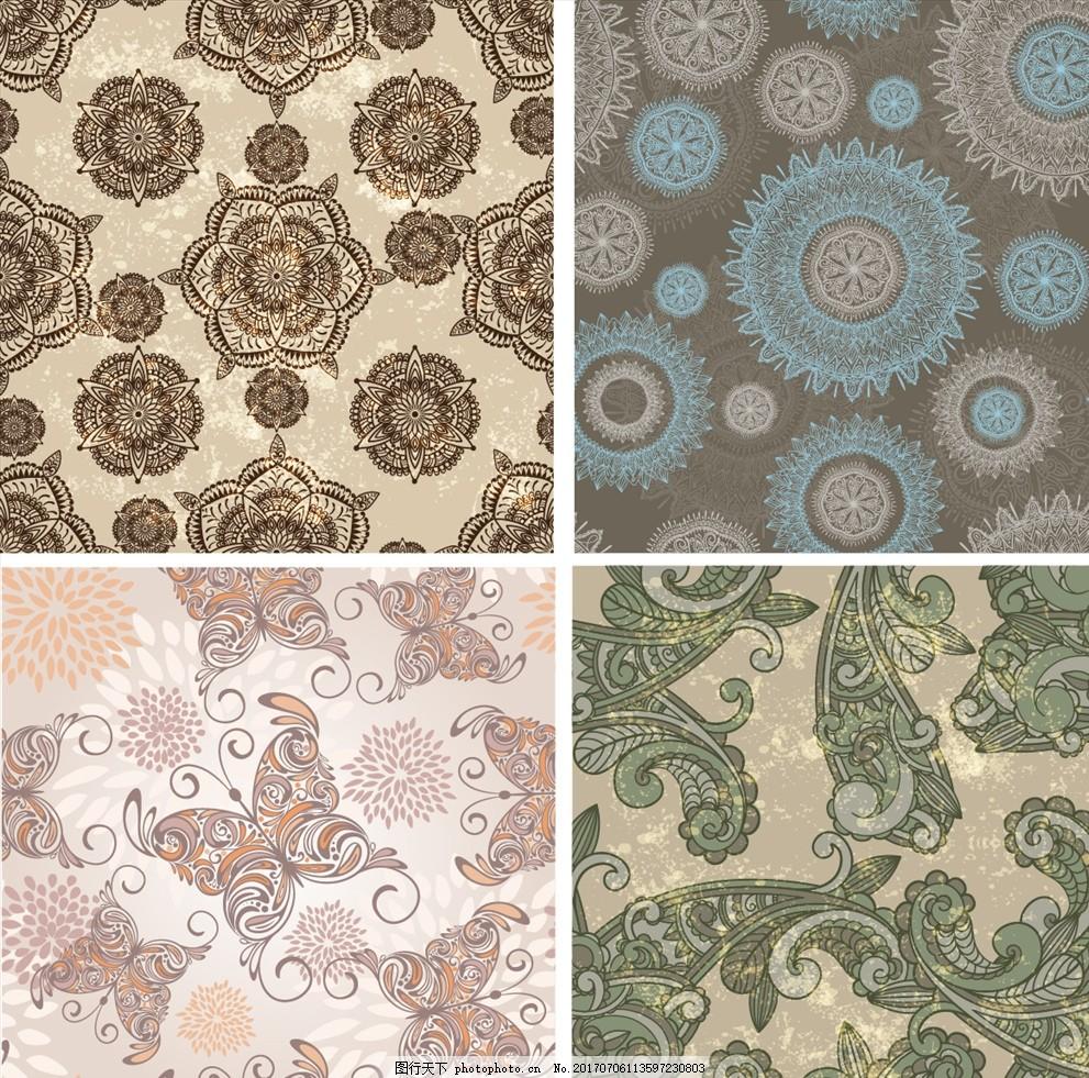蝴蝶复古图案矢量背景 家纺四件套 欧式花纹 四方连续 定位印花