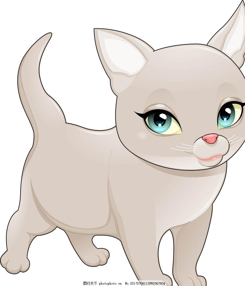 扁平动物 矢量扁平动物 矢量图 卡通漫画 q版动物 贴纸 卡通猫 设计