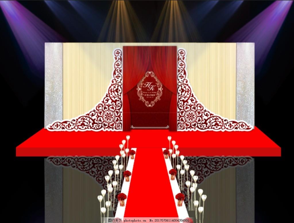 酒红色欧式婚礼效果图