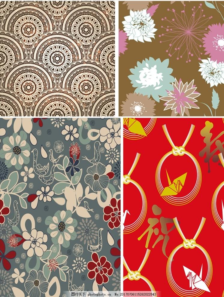 花纹花瓣圆盘矢量背景 家纺四件套 欧式花纹 四方连续 定位印花