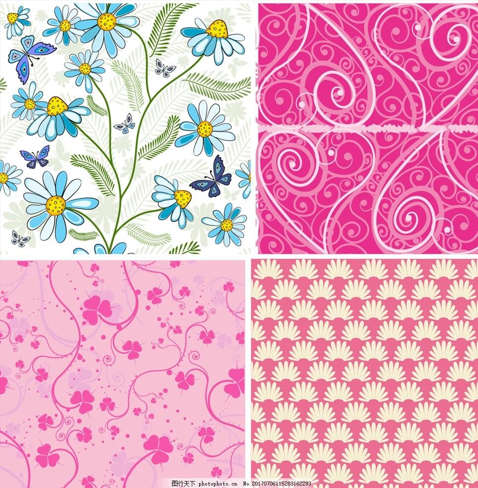花瓣淡雅背景 家纺四件套 欧式花纹 四方连续 定位印花 面料图案设计